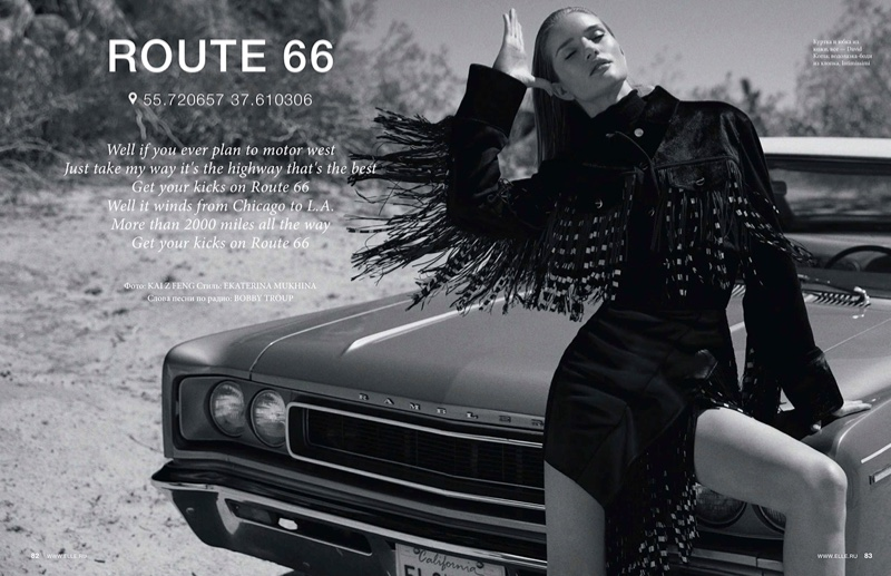 Rosie Huntington-Whiteley Hits the Road for ELLE Russia
