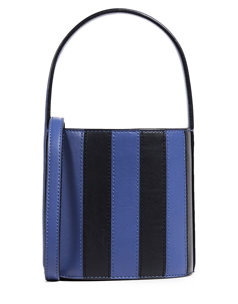 Staud Bisset Bag in Indigo/Black Stripe $350