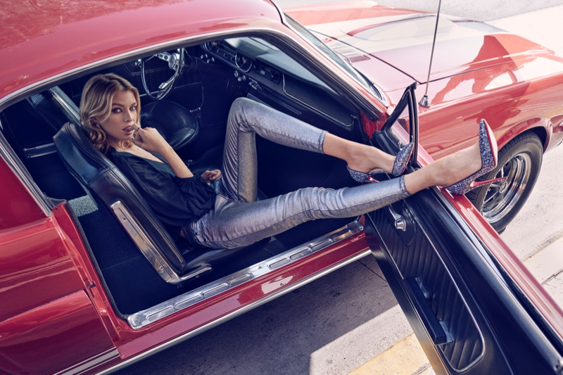 Stella Maxwell poses for 7 For All Mankind fall-winter 2018 campaign