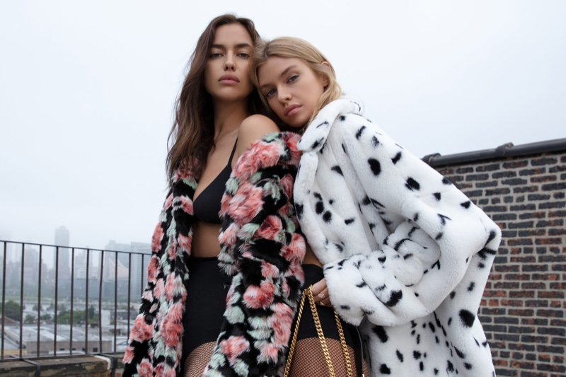 Irina Shayk and Stella Maxwell pose in faux fur jackets for The Kooples fall-winter 2018 campaign