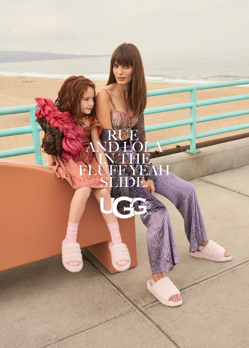 Lola McDonnell wears fluffy sandals in UGG fall-winter 2018 campaign