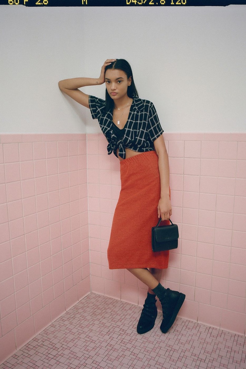 UO Dolores Button-Down Top and Stussy Faye Midi Skirt
