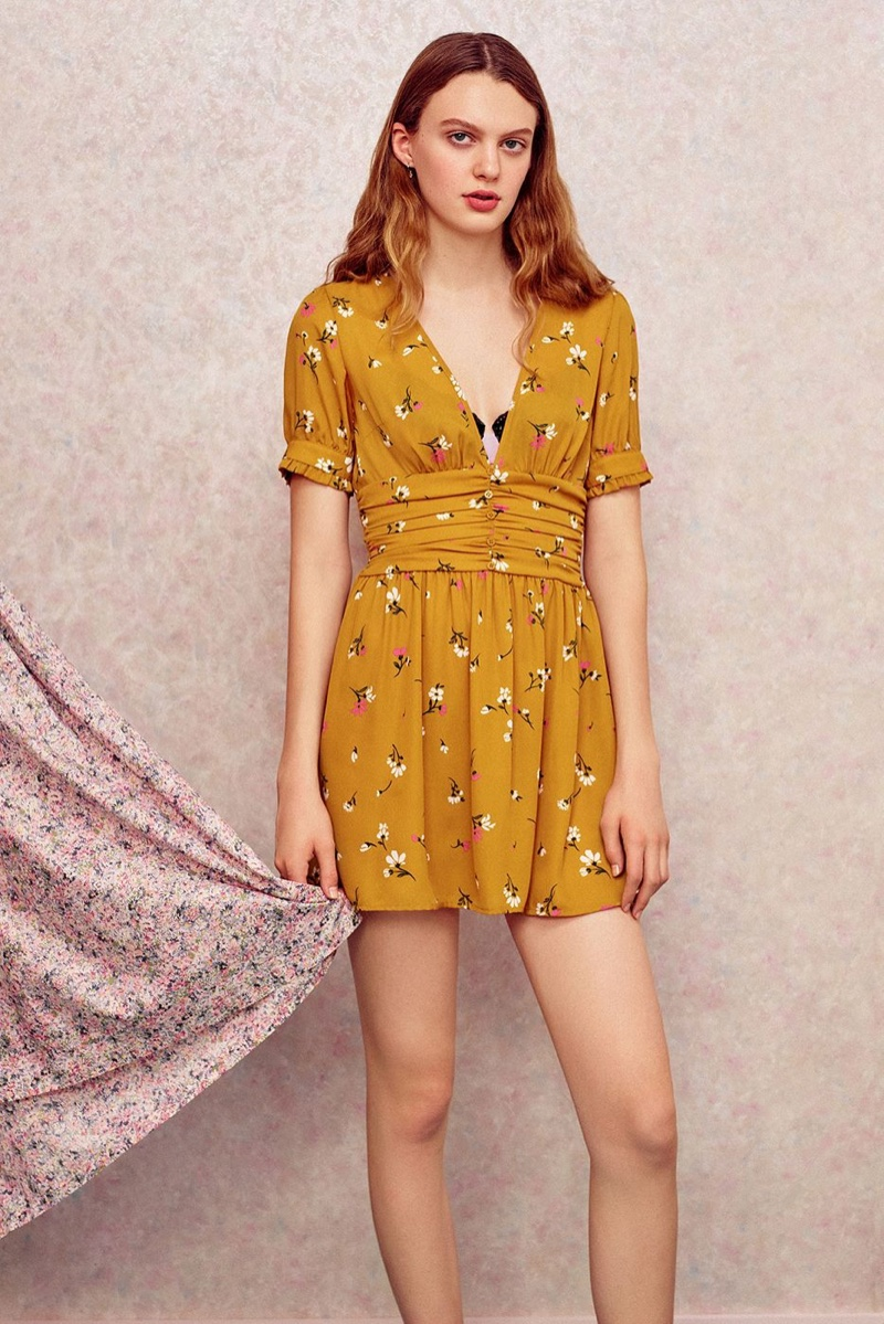 UO Emmy Ruched Short Sleeve Dress