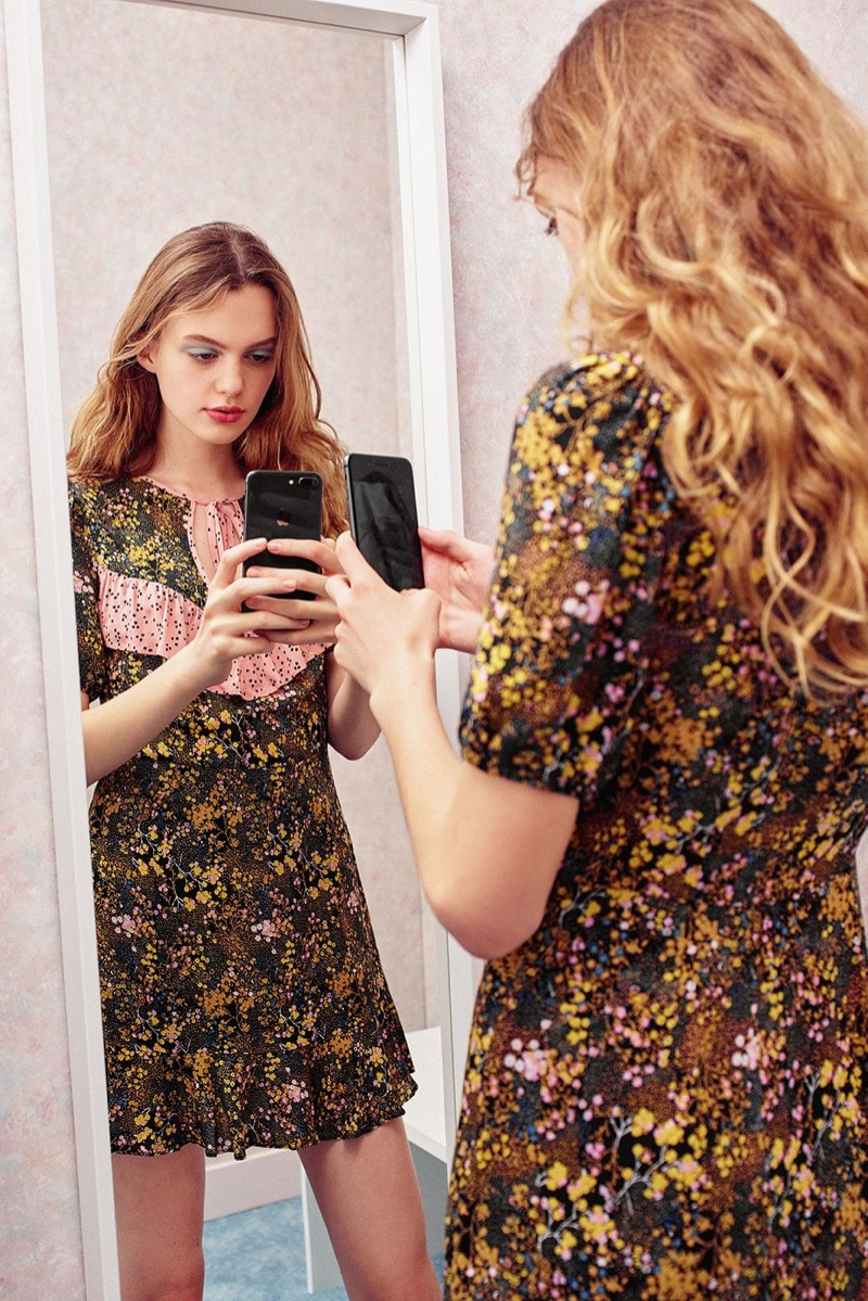 UO Sinclair Floral Puff Sleeve Mini Dress