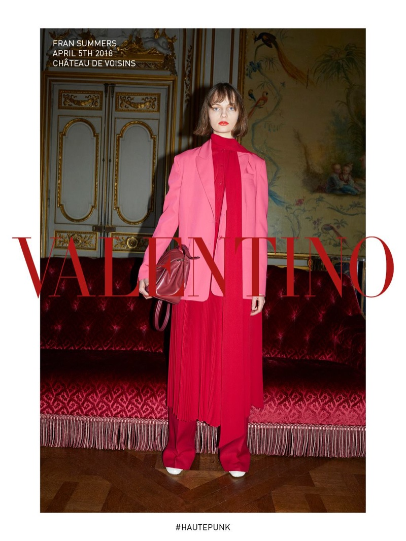 Fran Summers dresses in pink and red look for Valentino fall-winter 2018 campaign