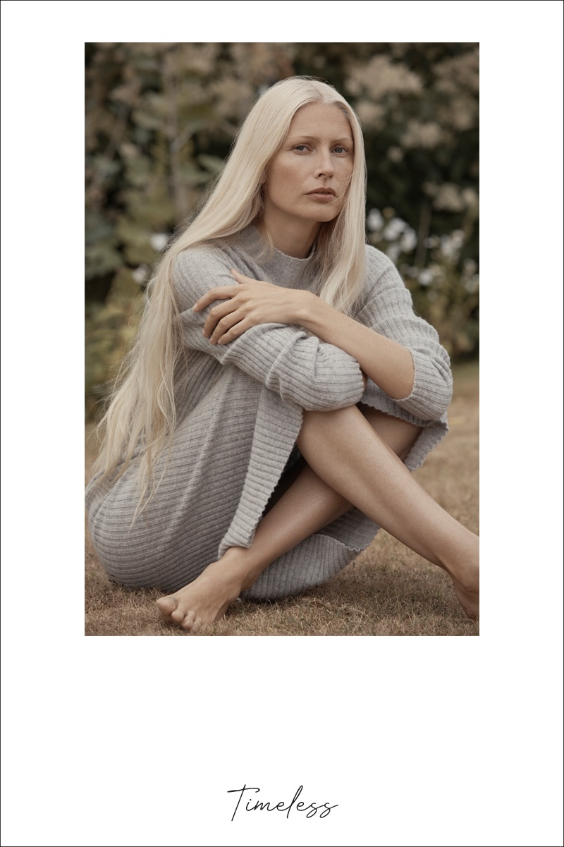 Model Kirsty Hume poses in Zara Home fall-winter 2018 Timeless Essentials collection
