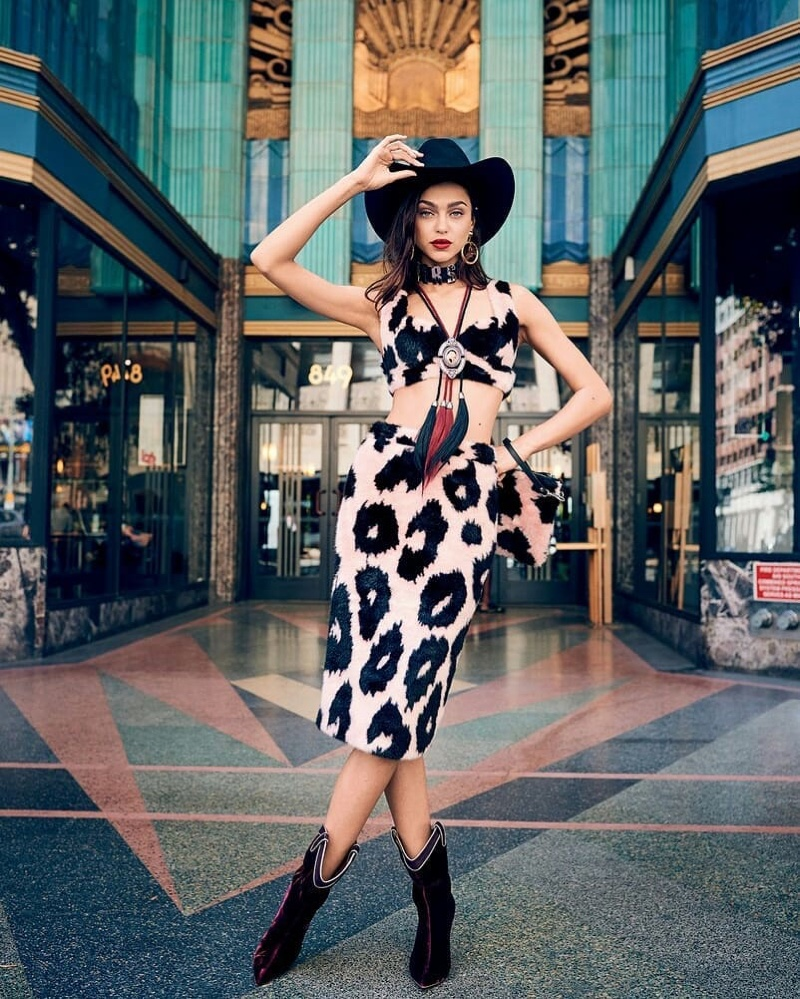 Zhenya Katava Brings Western Style to the City for Glamour Italy