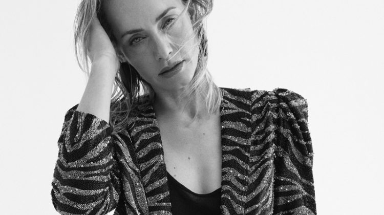 Amber Valletta Models Saint Laurent Looks for ELLE France