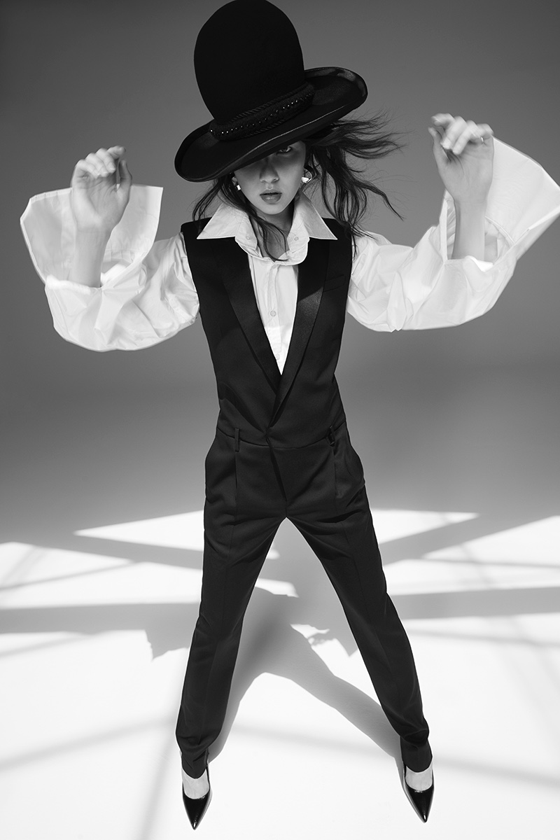 Anastasia Chekry Models Sleek Tailoring for Harper's Bazaar Mexico