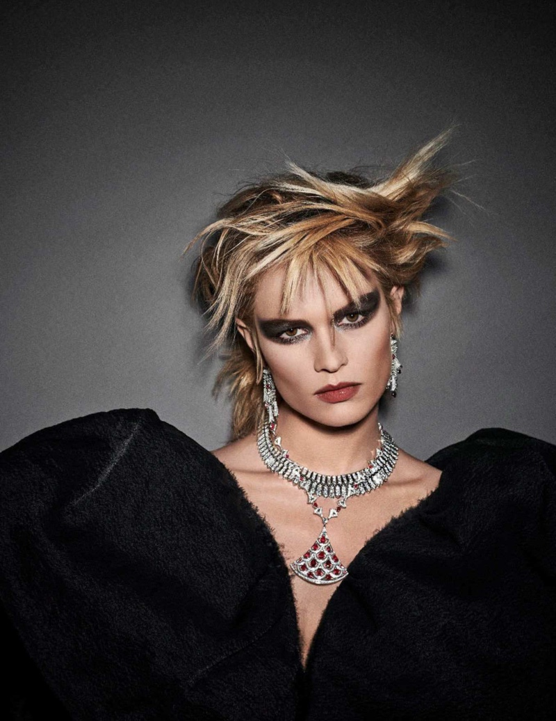 Anna Ewers Takes On Punk Glam Looks in Vogue Germany