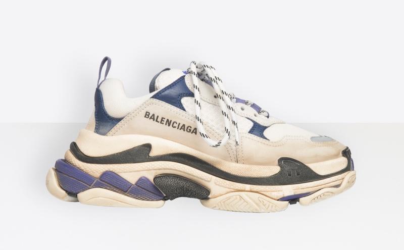 Balenciaga Triple S Sneakers in White/Navy $895