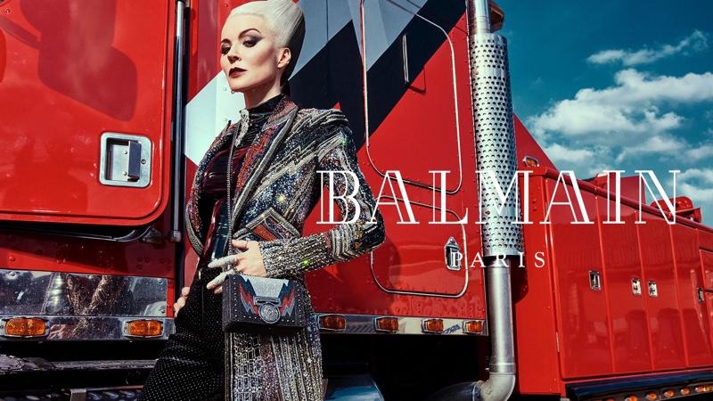 Daphne Guinness stars in Balmain fall-winter 2018 campaign