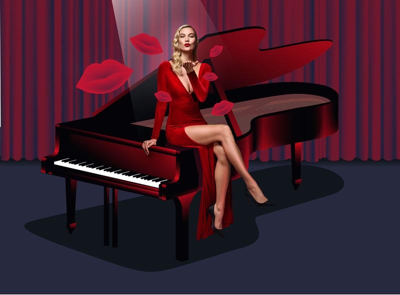 Karlie Kloss wears red dress in Carolina Herrera Good Girl Velvet Fatale fragrance campaign