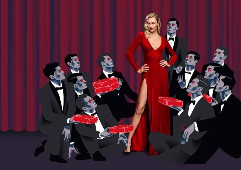 Model Karlie Kloss fronts Carolina Herrera Good Girl Velvet Fatale fragrance cmapaign