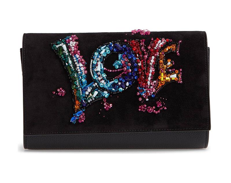 Christian Louboutin Paloma Love Suede Clutch Bag $2,190