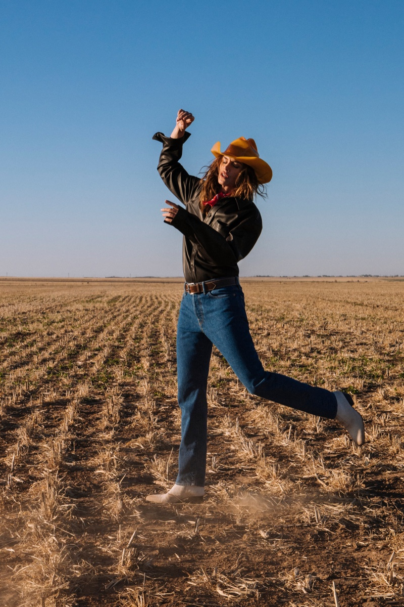 Cindy Crawford wears western inspired style for Acne Studios fall-winter 2018 campaign