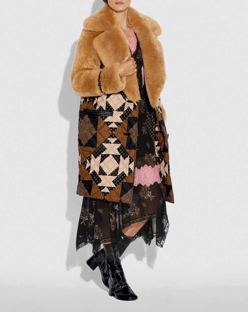 Coach Patchwork Shearling Overcoat $2,200