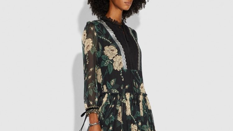 Coach Rose Print Tiered Dress $1,200