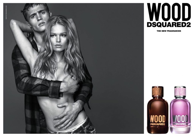 Anna Ewers poses topless with Julian Schneider for DSquared2 Wood fragrance campaign