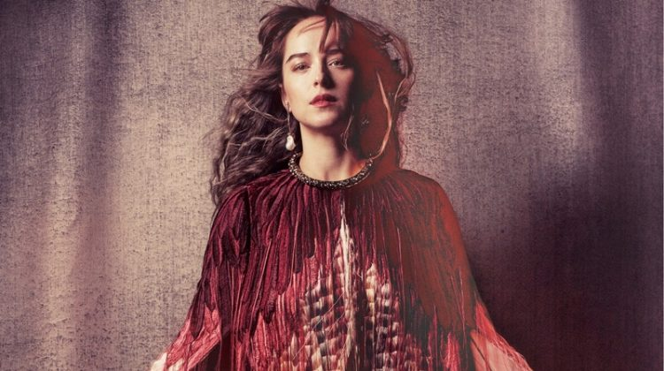 Actress Dakota Johnson wears Alexander McQueen cape, antique earring and choker necklace