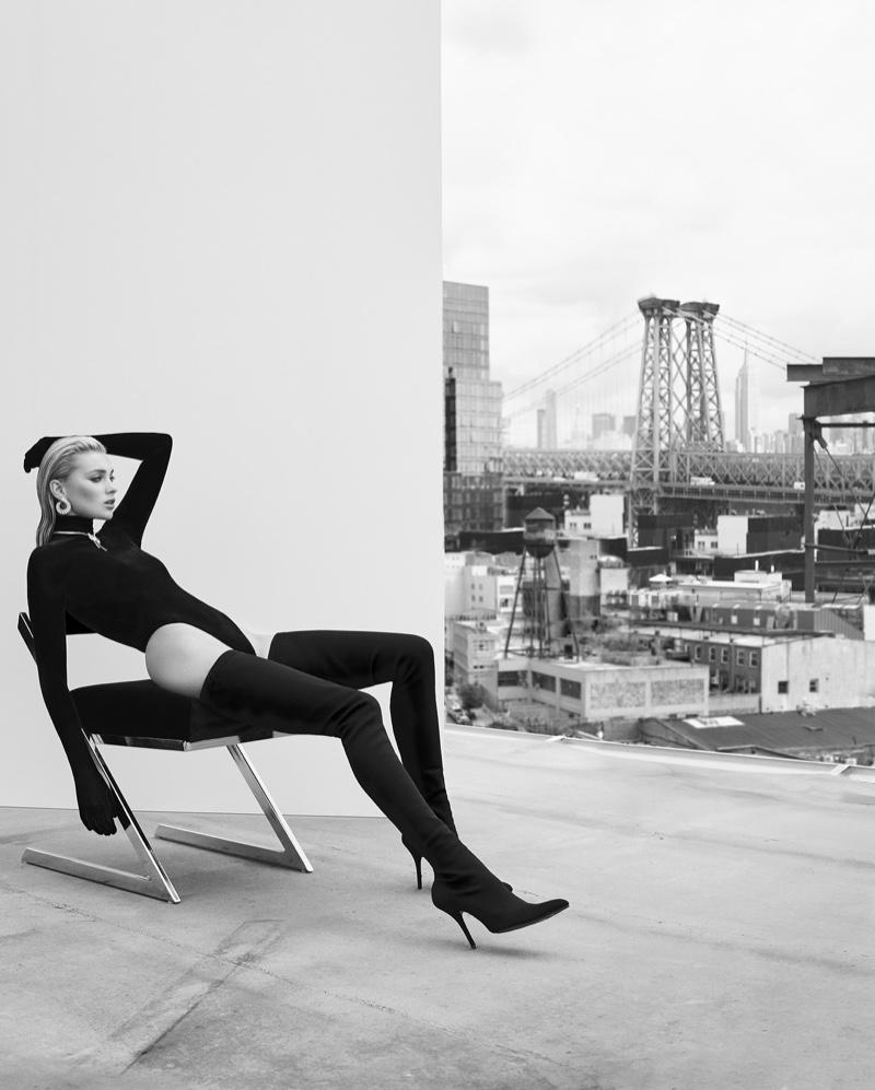 Elsa Hosk Poses in Sultry & Sleek Fashions for ELLE