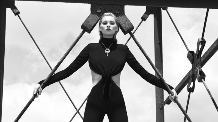 Elsa Hosk Poses in Sultry & Sleek Fashions for ELLE