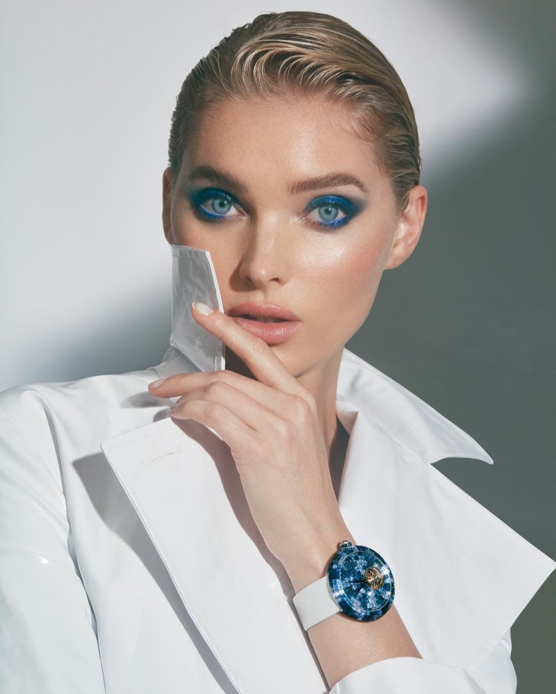Elsa Hosk wears blue watch in Jacob & Co. campaign