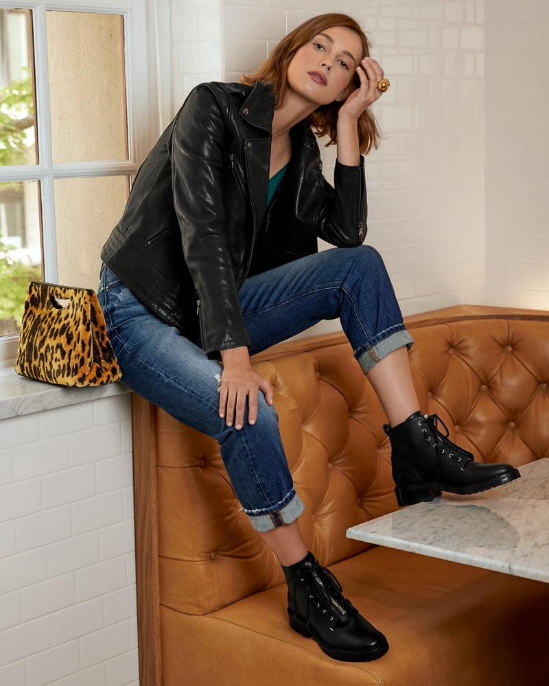FRAME Zip-Front Slim Leather Moto Jacket, Classic V-Neck silk Cami and Le Pegged High-Rise Straight-Leg Jeans