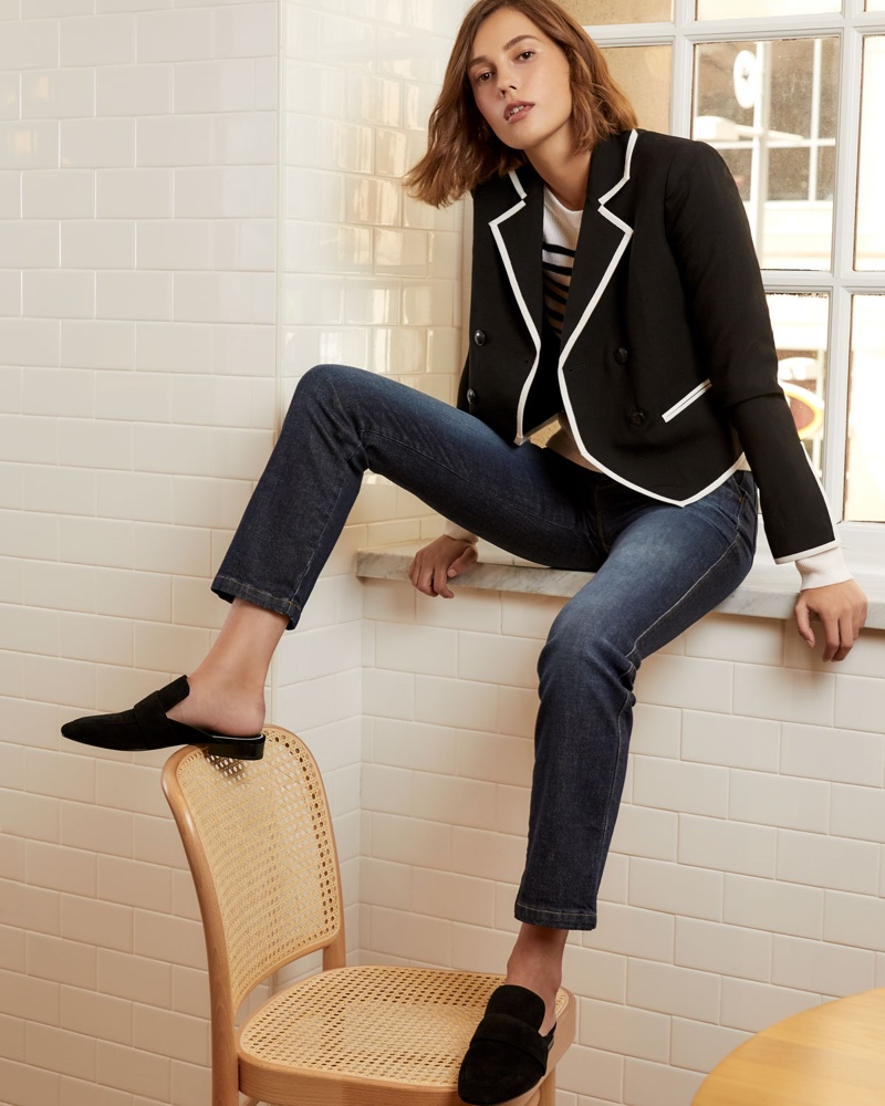 FRAME Double-Breasted Wool Jacket with Contrast Edges, Button-Shoulder Striped Merino Wool Sweater and Le Skinny Ankle Jeans with Step Hem
