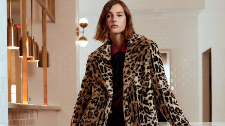 FRAME Faux Fur Cheetah-Print Jacket, Long-Sleeve Silk Button-Front Blouse with Neck Tie and Le Mini Boot-Cut Leather Pants