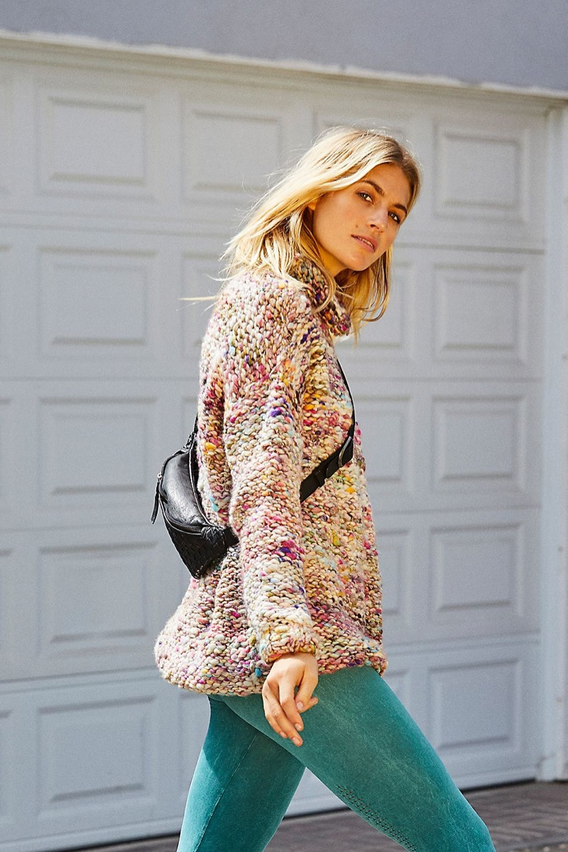 Free People Floral Bouquet Tunic Sweater and FP Movement High Rise 7/8 Length Shanti Legging