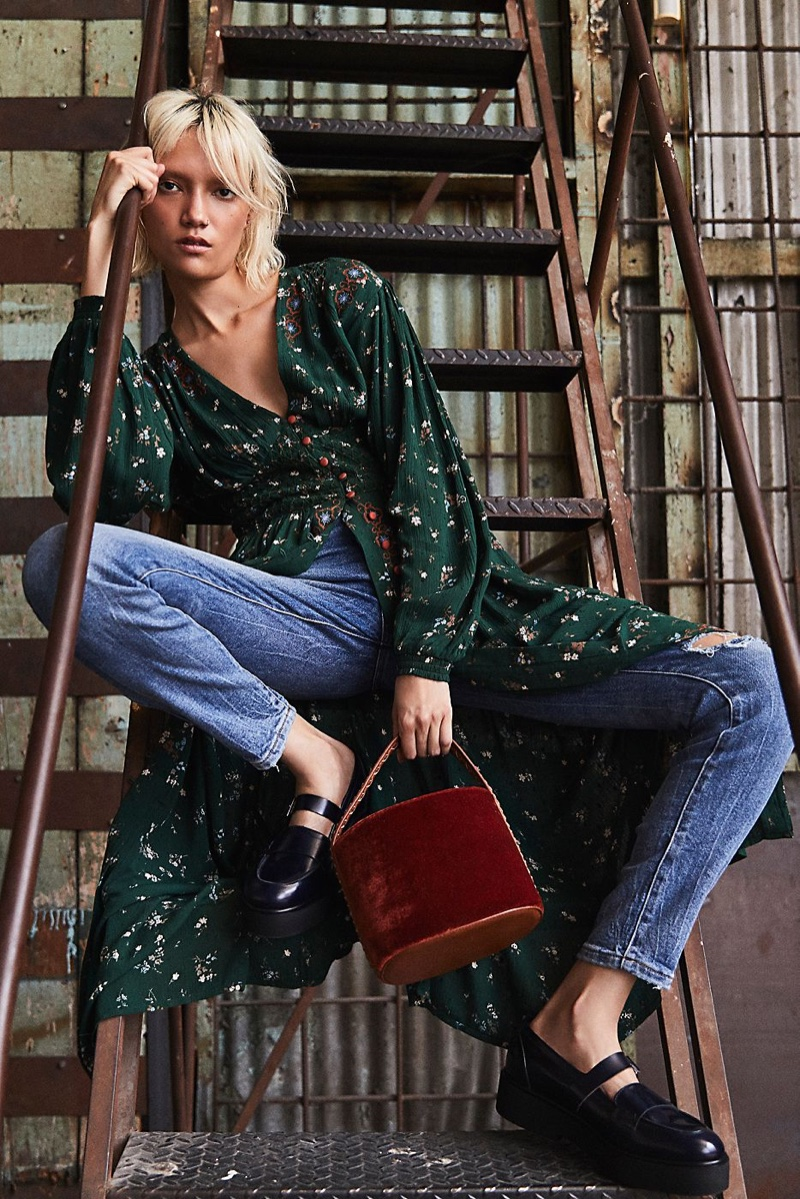 Free People Wildflowers Embroidered Maxi Dress, Lee High Rise Skinny Jeans, FP Collection Pearl Street Penny Loafer and Free People Vivian Bucket Bag