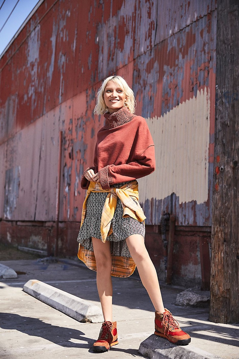 Free People Cuddle Up Pullover, Nadia Wrap Mini Skirt and Danner Jag Hiker Boot