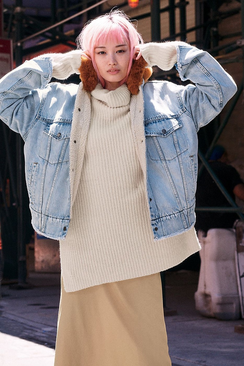 Levi's Oversized Sherpa Trucker Jacket and Free People Eleven Sweater