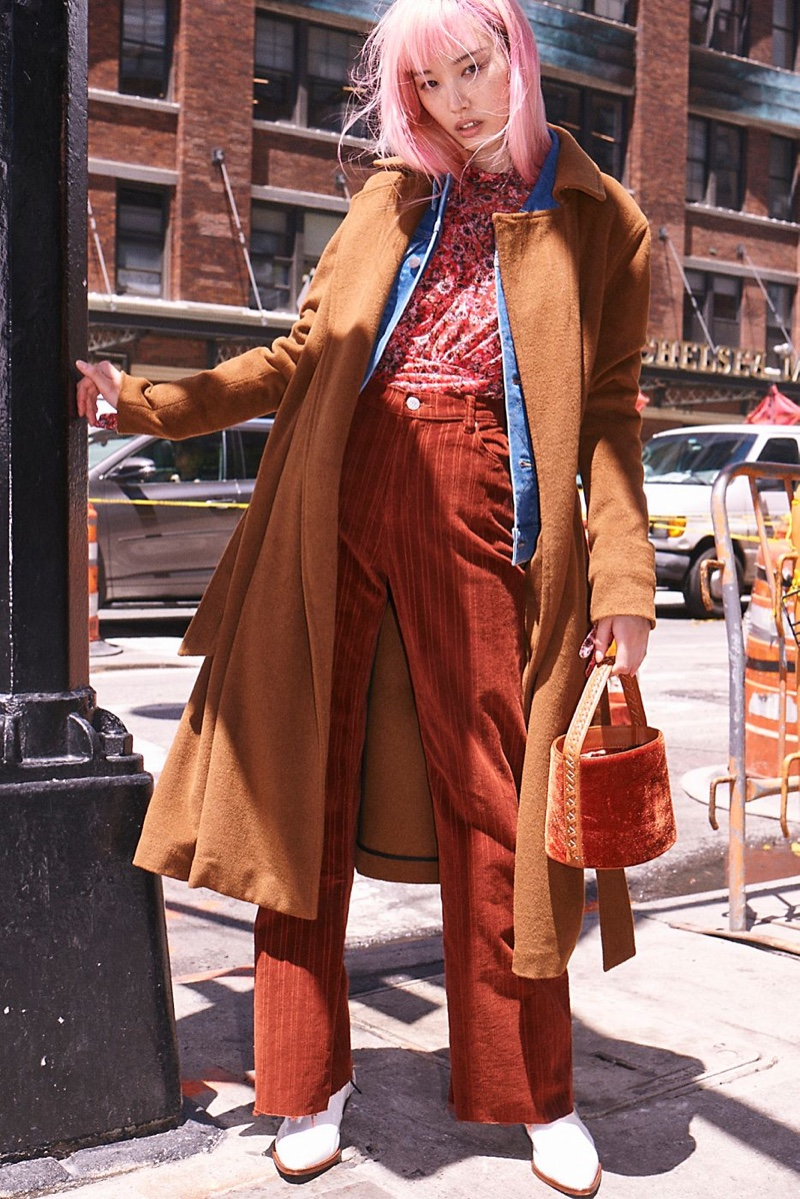 Free People Sierra Wool Coat, Wrangler Heritage Jacket, Free People All Dolled Up Top, Zee Gee Why Cord Sweeper Pants, Free People Vivian Bucket Bag and FP Collection New Frontier Western Boot