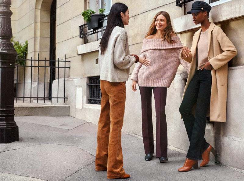 (Left) H&M V-Neck Sweater and Wide-Leg Corduroy Pants (Middle) H&M Off-the-Shoulder Sweater (Right) H&M Straight-Cut Coat, Mini Flare High Jeans, Block-Heeled Ankle Boots and Captain's Cap