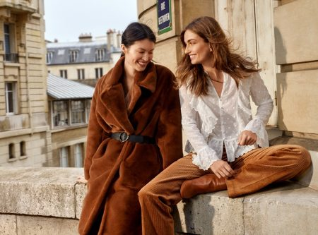 (Left) H&M Faux Fur Coat and Belt (Right) H&M V-Neck Buttoned Blouse, Wide-Leg Corduroy Pants and Block-Heeled Ankle Boots