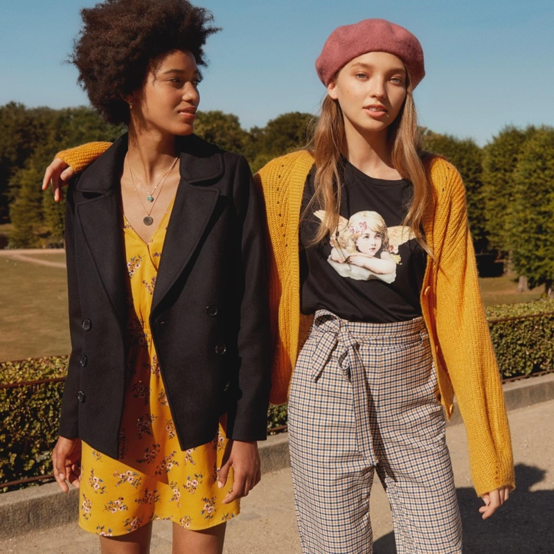 (Left) H&M Pea Coat and V-Neck Wrap Dress (Right) H&M V-Neck Cardigan, T-Shirt with Motif, Pull-On Pants and Felted Wool Beret