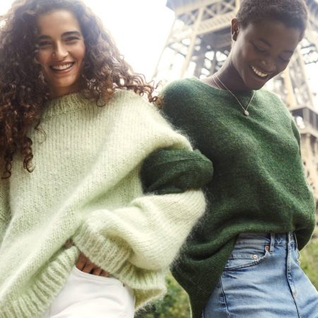 (Left) H&M Knit Mohair-Blend Sweater (Right) H&M Knit Sweater