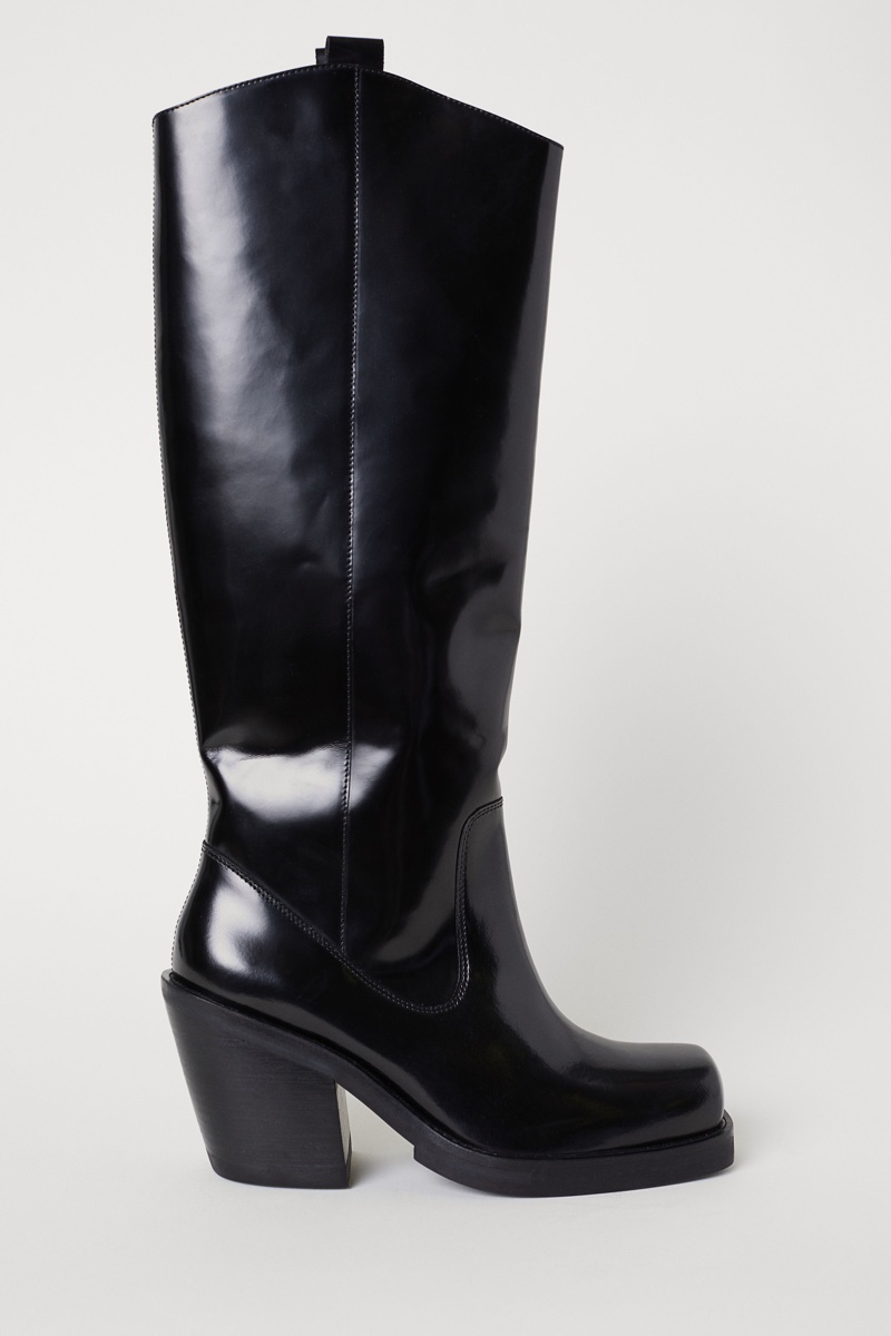 H&M Studio Knee-Length Leather Boots $199