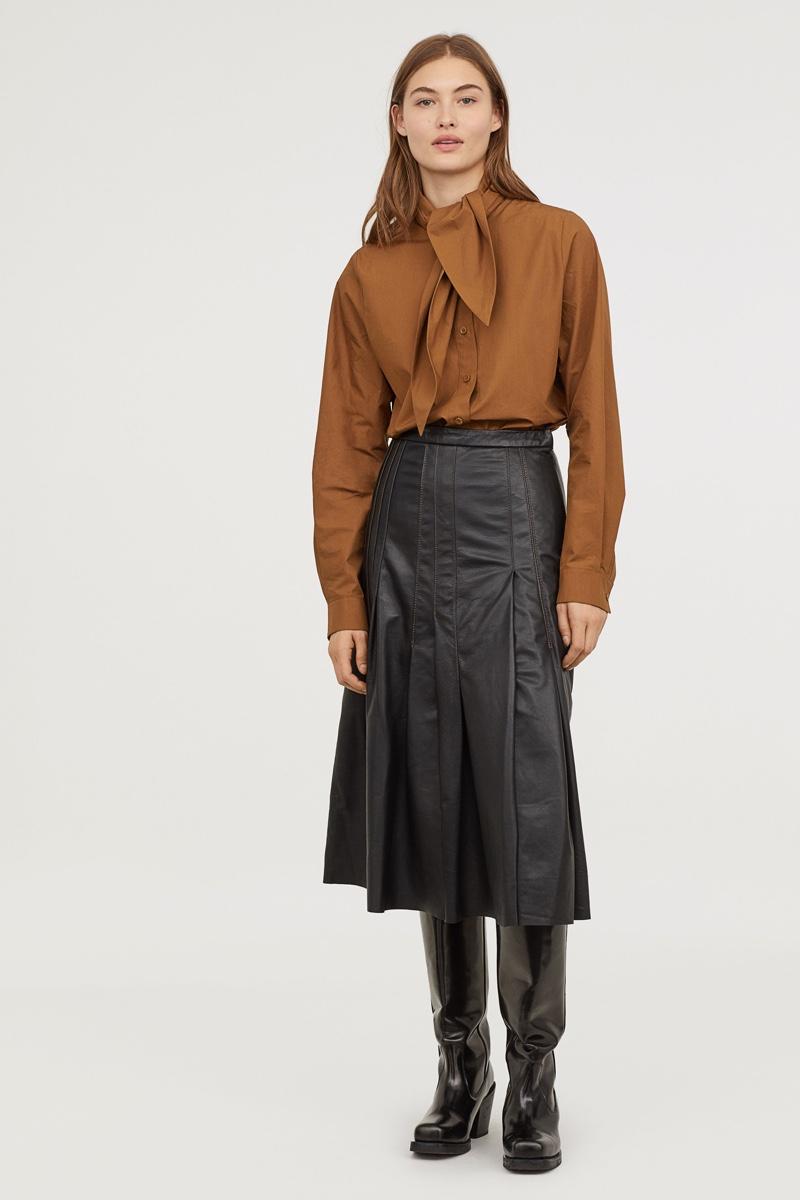 H&M Studio Knee-Length Leather Skirt $299