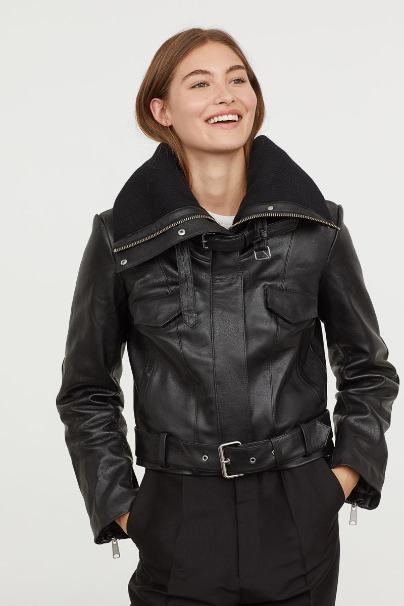 H&M Studio Padded-Collar Leather Jacket $399