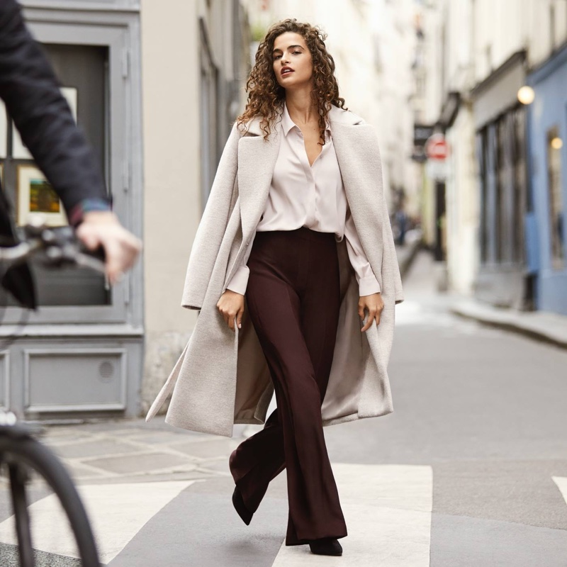 H&M Wool-Blend Coat, Long-Sleeved Blouse and Wide-Leg Pants