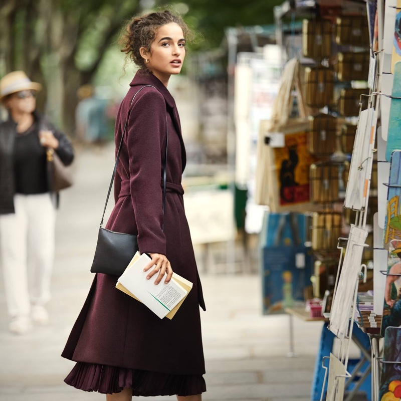 H&M Long Coat, Pleated Skirt and Small Shoulder Bag