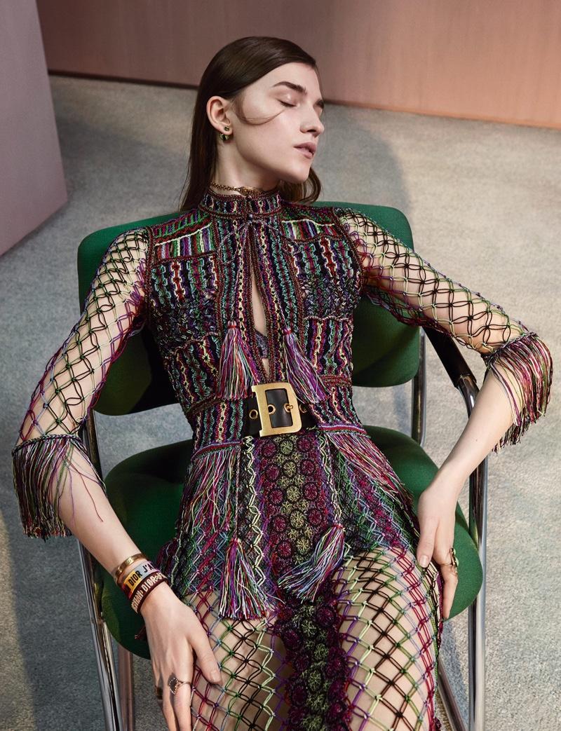Irina Duranovic Poses in Chic Knits for Dior Magazine