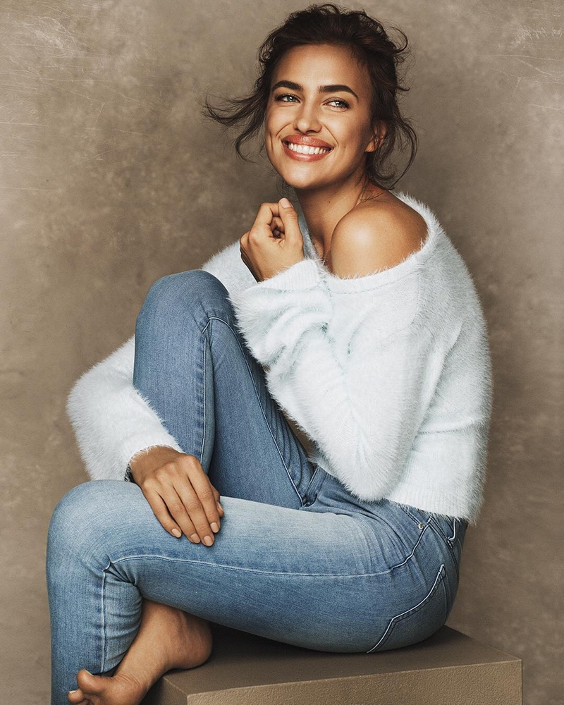 Irina Shayk flashes a smile for Ellen Tracy fall-winter 2018 campaign