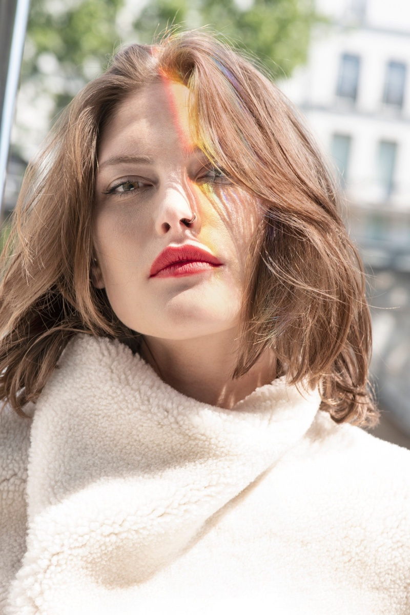 Catherine McNeil wears look from L'Oreal Paris x Isabel Marant collection