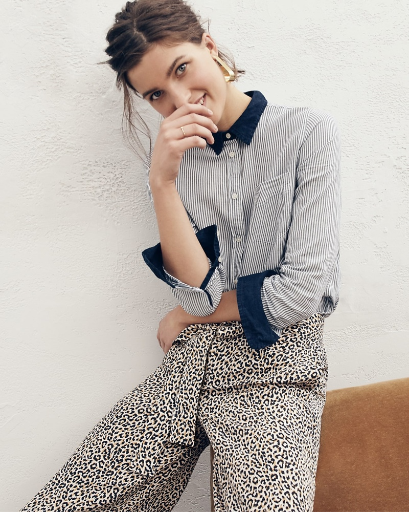 J. Crew Classic-Fit Shirt in Mixed Denim Stripe, Wide-Leg Cropped Pant in Leopard-Print Silk and Twisted Ribbon Hoop Earrings