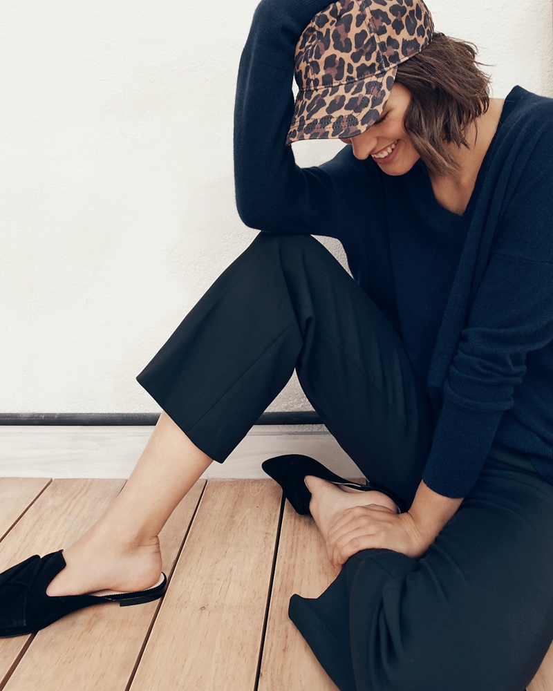 J. Crew V-Neck Boyfriend Sweater in Everyday Cashmere, Peyton Wide-Leg Pant in Four-Season Stretch and Pointed-Toe Slides in Suede