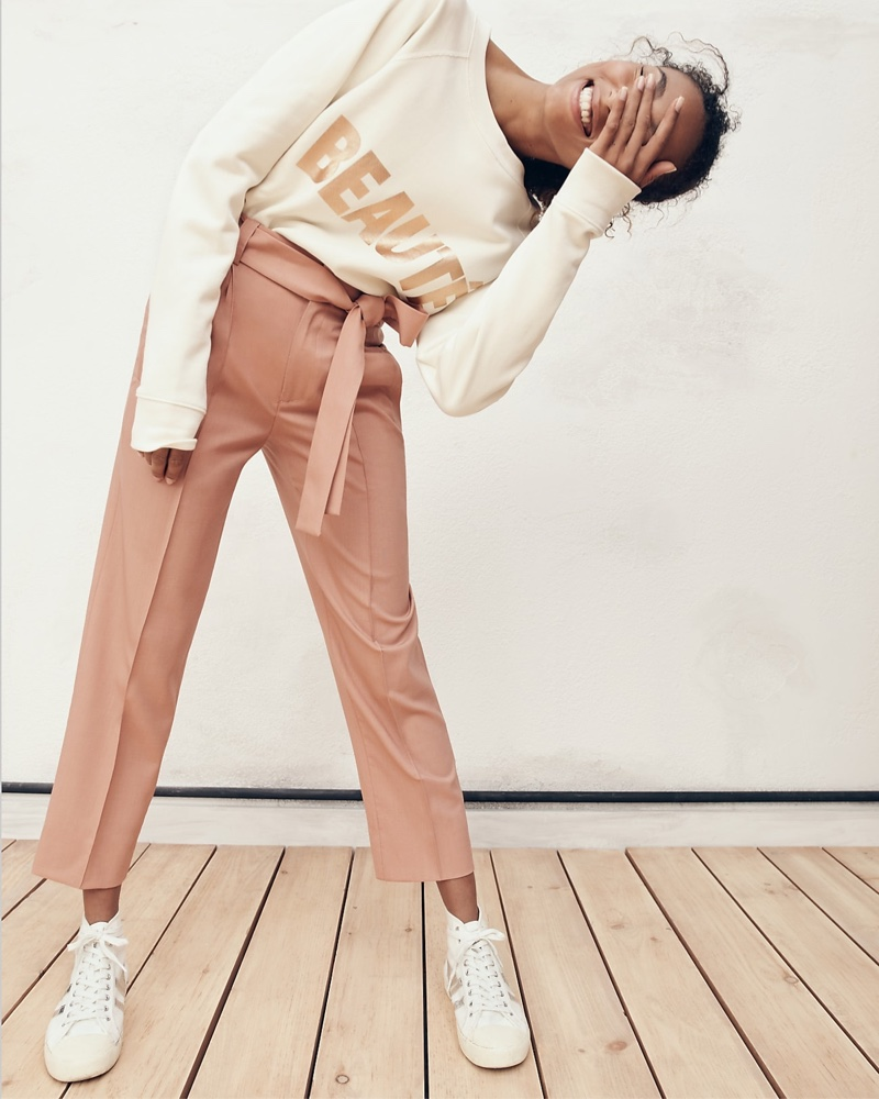 J. Crew Beauté Sweatshirt, Collection Tie-Waist Pant and Gola for J. Crew Coaster High-Top Sneaker